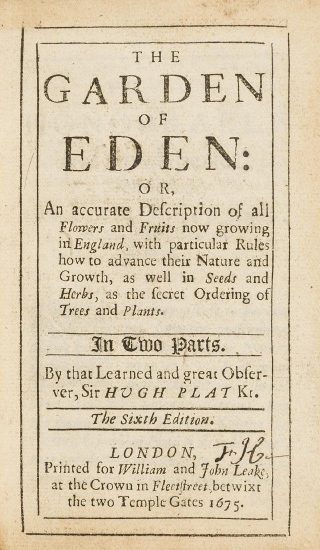 Plat (Sir Hugh) The Garden of Eden: or, An accurate