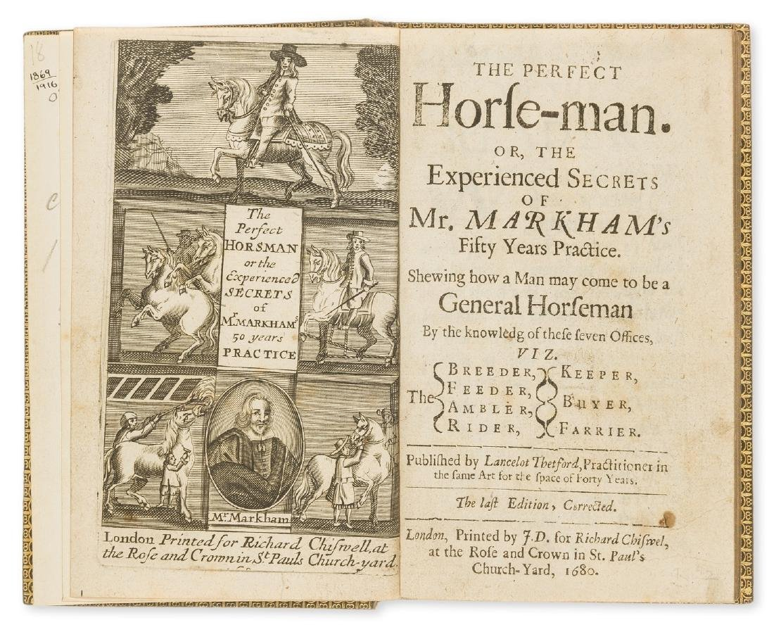 Horses.- Markham (Gervase) The Perfect Horse-man, 1680;