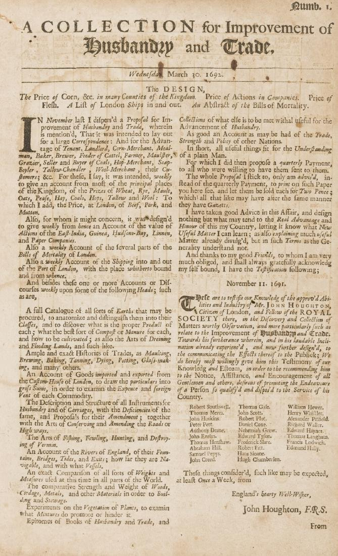 Periodical.- Houghton (John) A Collection for the