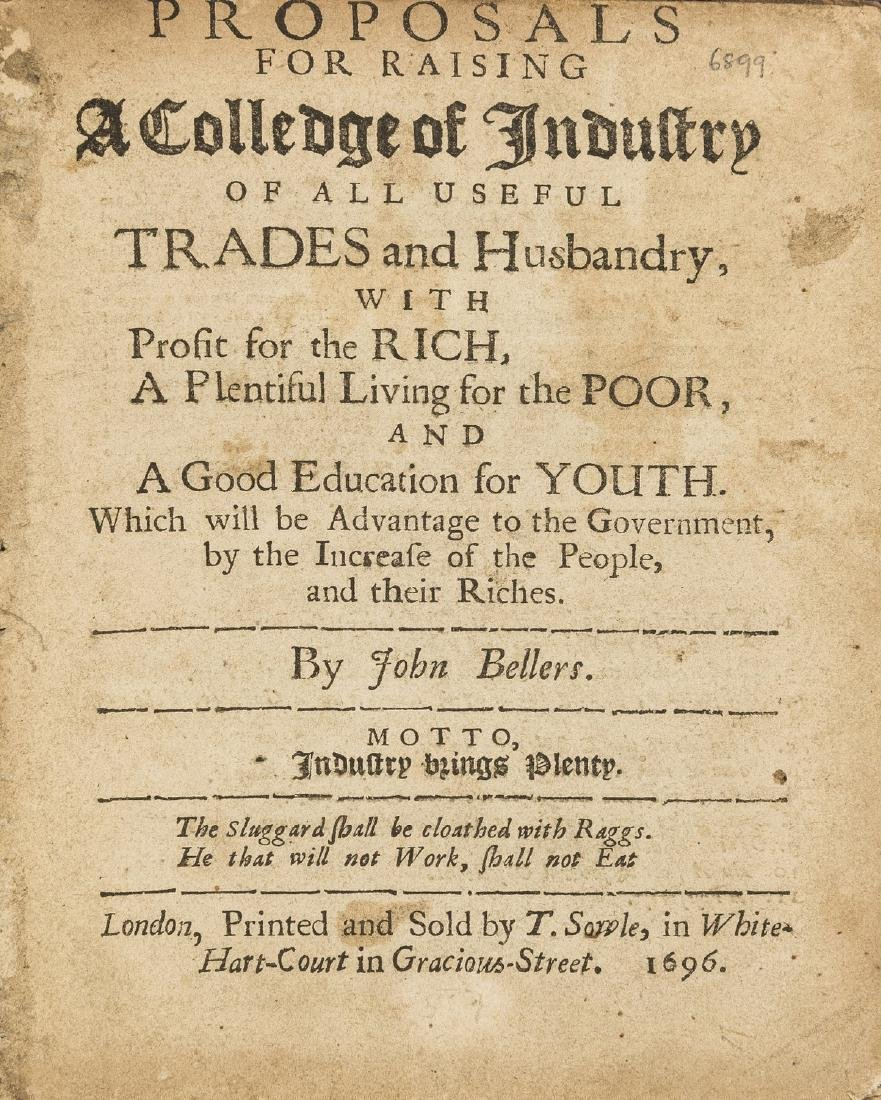 Poverty.- Bellers (John) Proposals for Raising a