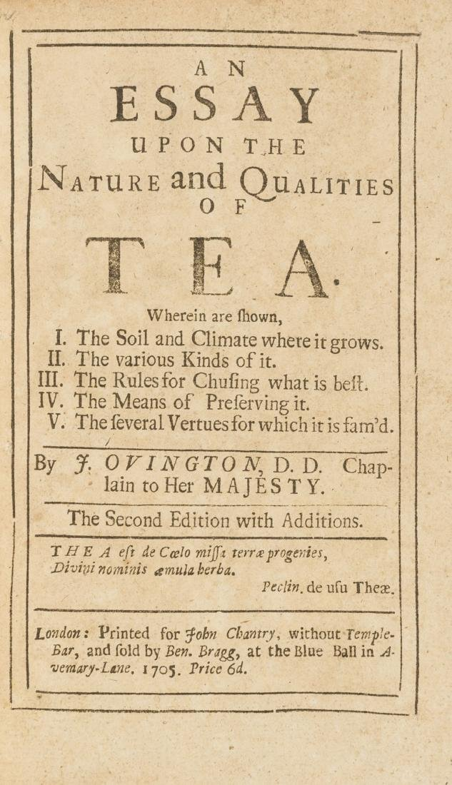 Tea.- Ovington (John) An Essay Upon the Nature and