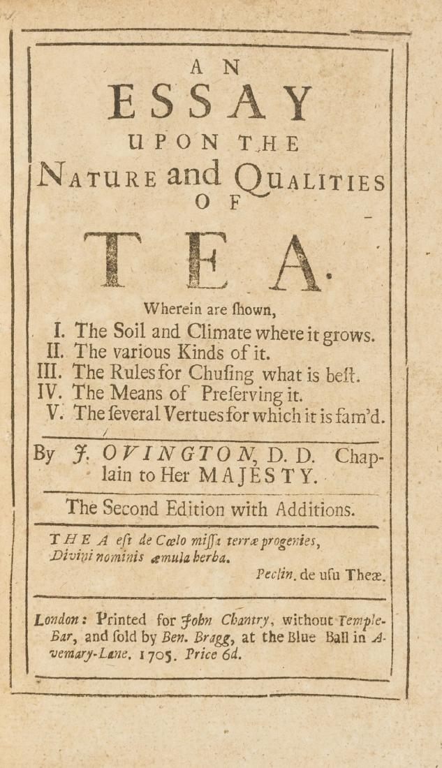 Tea.- Ovington (John) An Essay Upon the Nature and