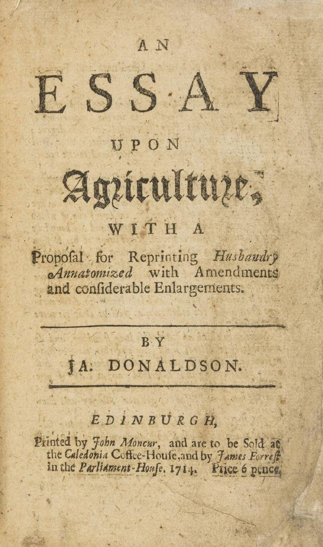 Donaldson (J.A.) An Essay upon Agriculture, with a