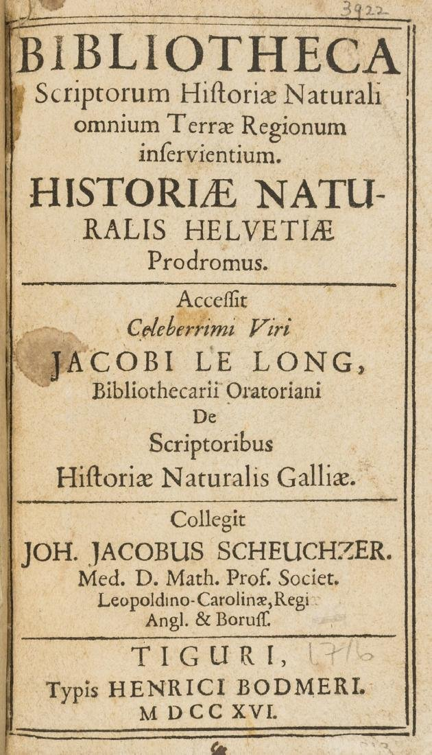 Bibliography.- Scheuchzer (Johann Jakob)  Bibliotheca