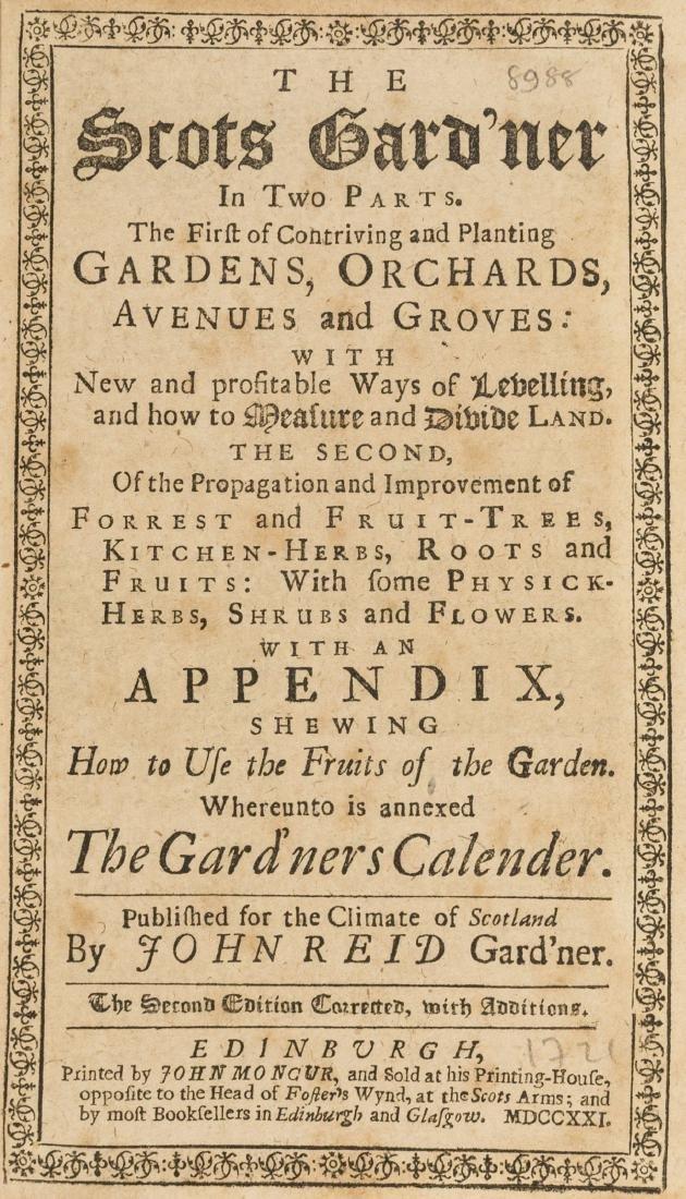 Gardens.- Reid (John) The Scots Gard'ner in Two Parts,