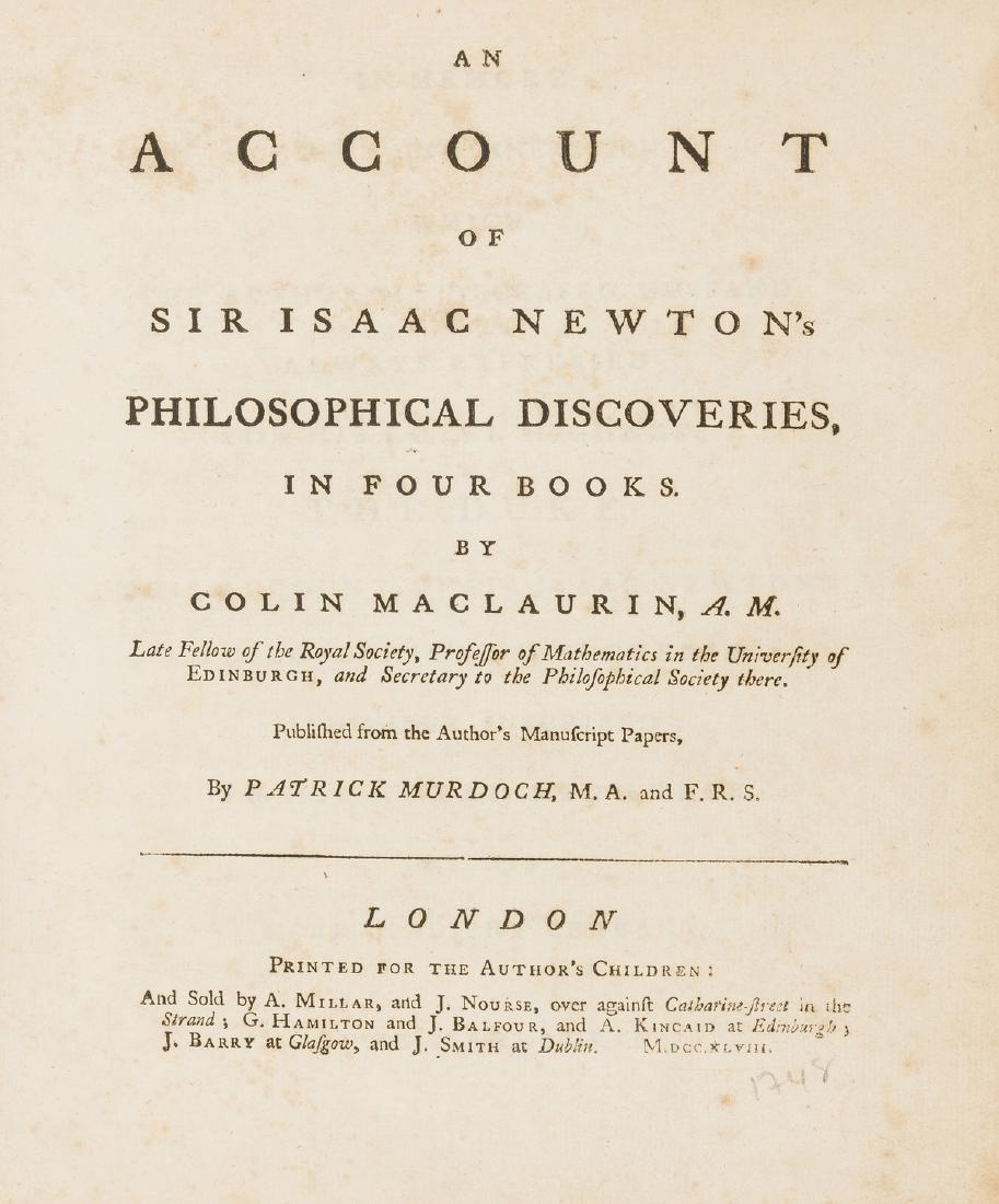 Maclaurin (Colin) An Account of Sir Isaac Newton's