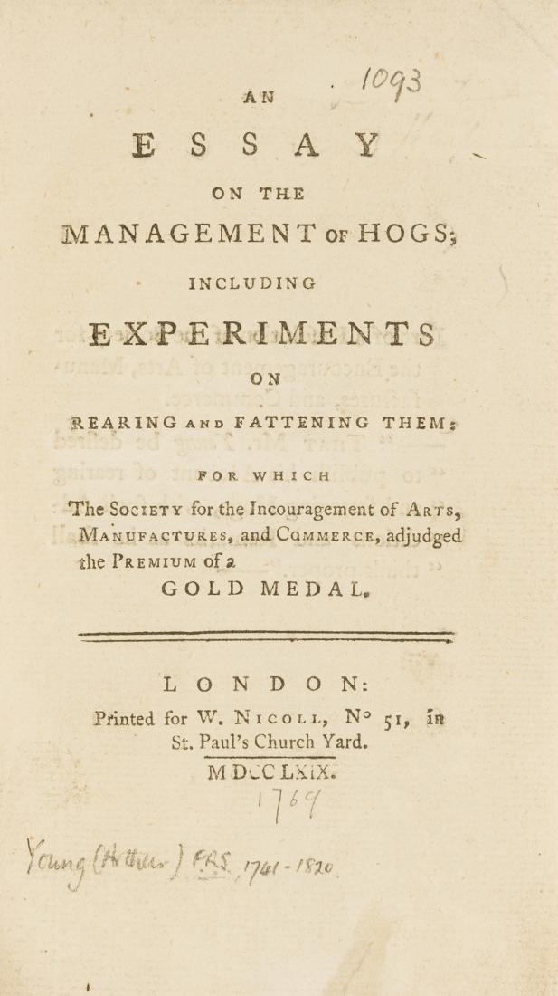 Young (Arthur) An Essay on the Management of Hogs,
