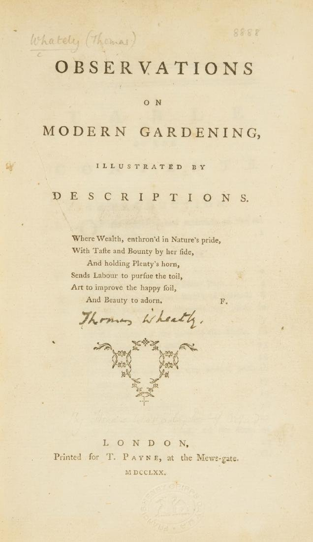 Gardens.- [Whately (Thomas)] Observations on Modern