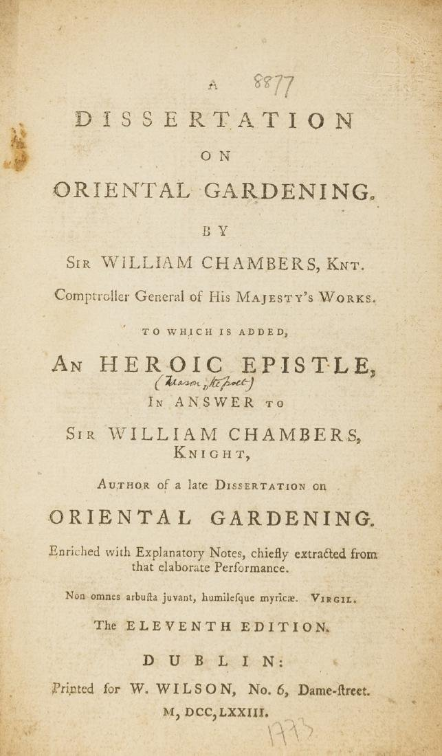 Gardens.- Chambers (William) A Dissertation on Oriental