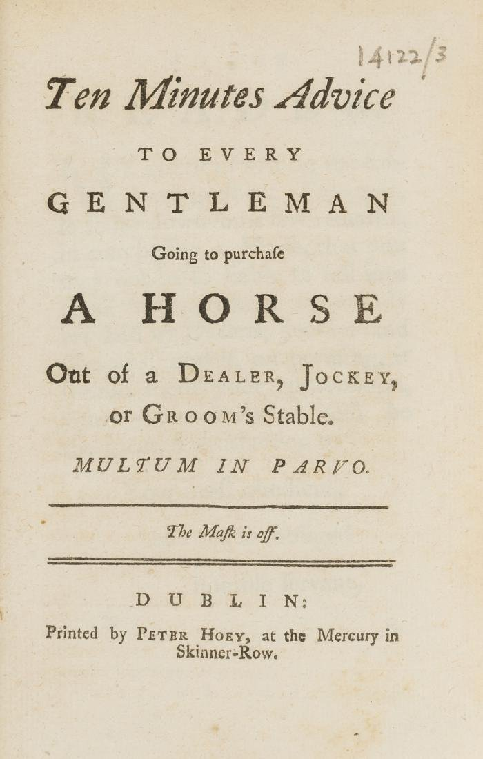 Horses.- [Bracken (Henry)] Ten Minutes Advice to Every