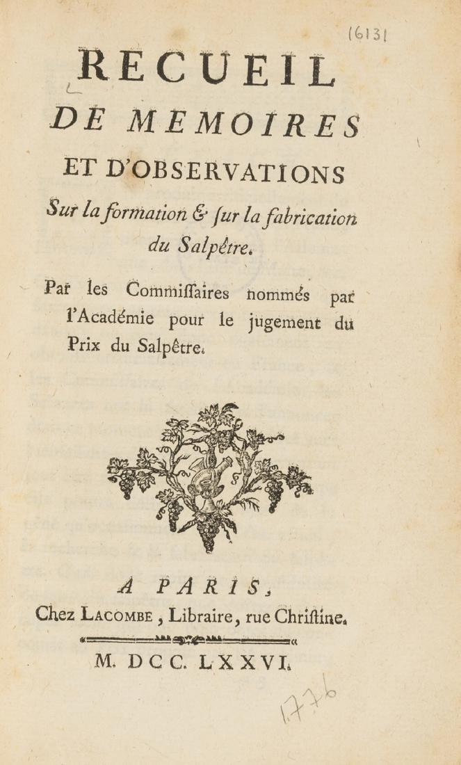 Lavoisier.- Recueil de Memoires et d'Observations sur
