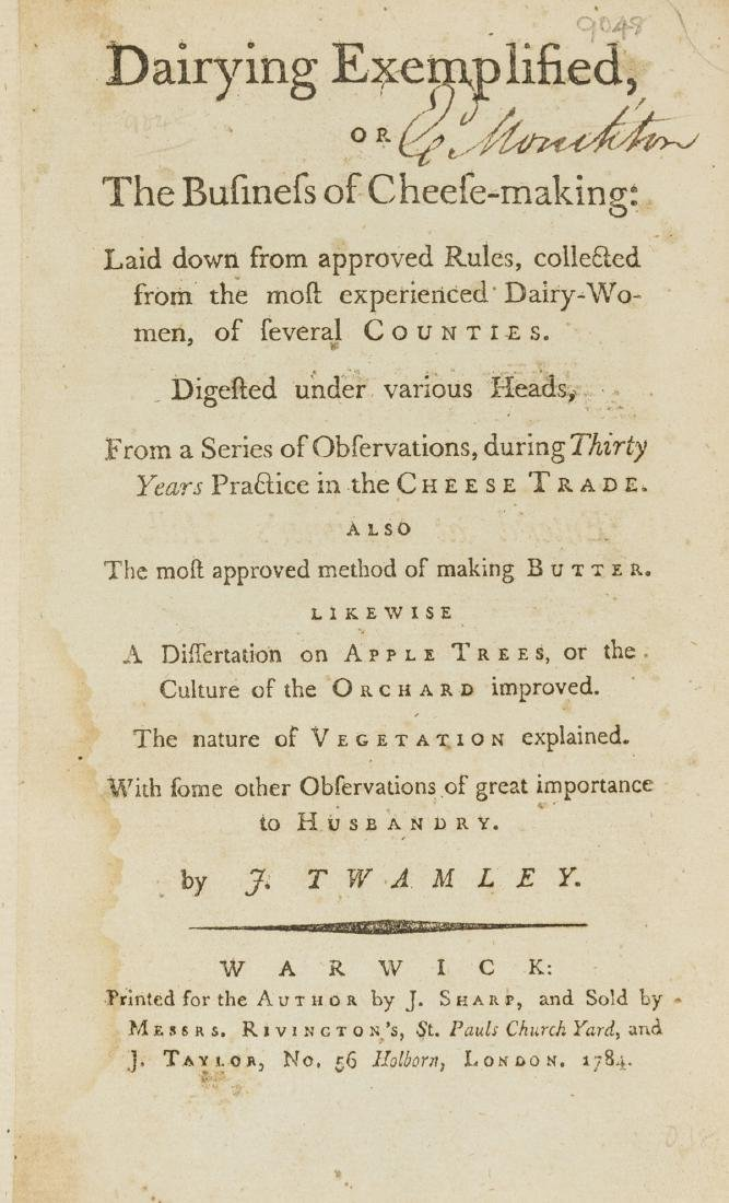 Dairy.- Twamley (Josiah) Dairying Exemplified, or the