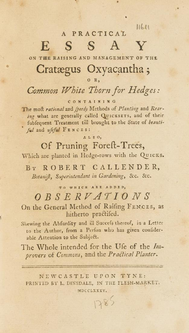 Hedges.- Callender (Robert) A Practical Essay on the