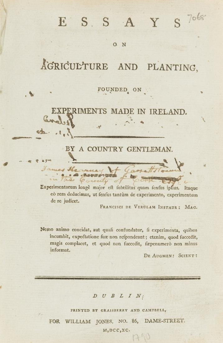 Ireland.- Essays on Agriculture and Planting, founded