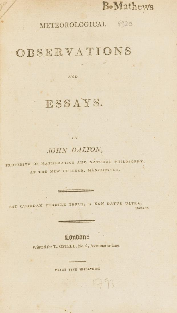 Weather.- Dalton (John) Meteorological Observations and