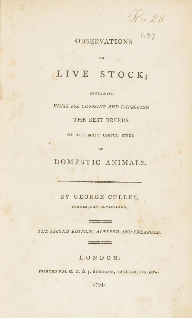 Livestock.- Culley (George) Observations on Live Stock,