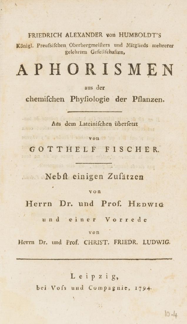 Humboldt (Alexander von) Aphorismen aus der chemischen