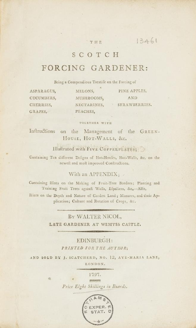 Gardens.- Nicol (Walter) The Scotch Forcing Gardener,