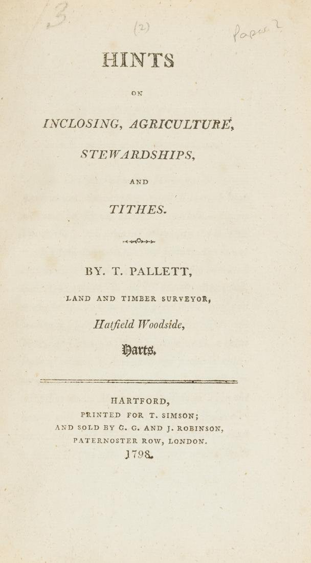 Pamphlets.- Pallett (T.) Hints on Inclosing,
