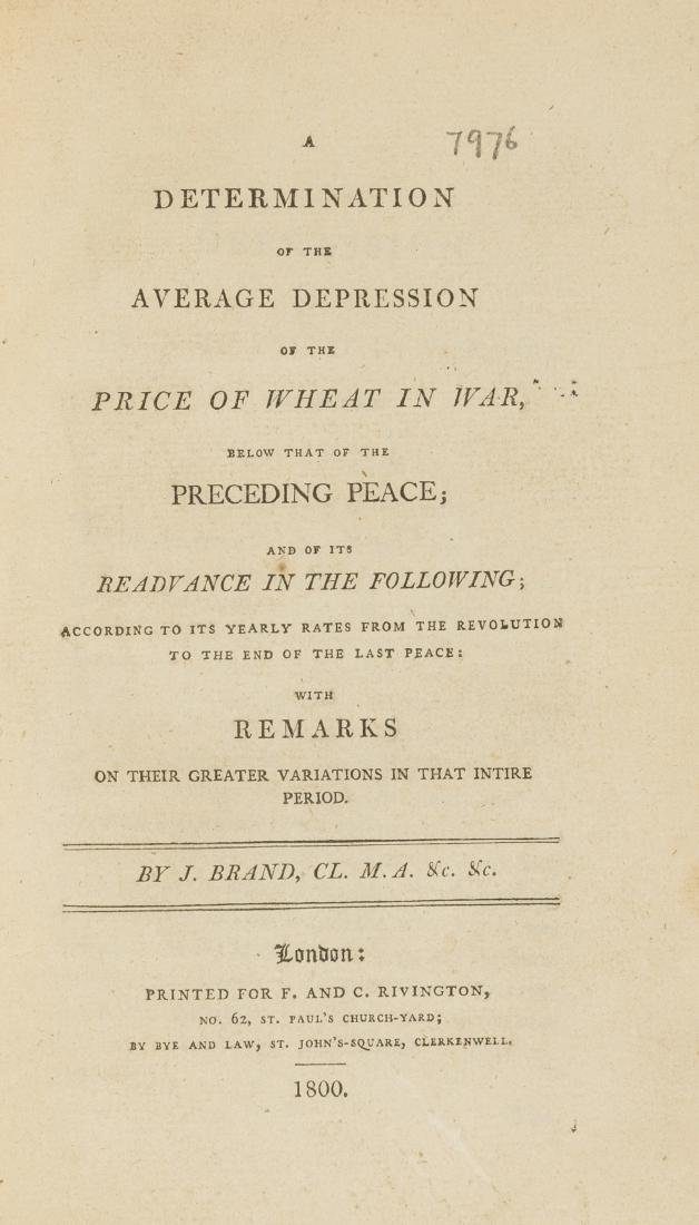 Price of wheat in war.- Brand (John) A Determination of