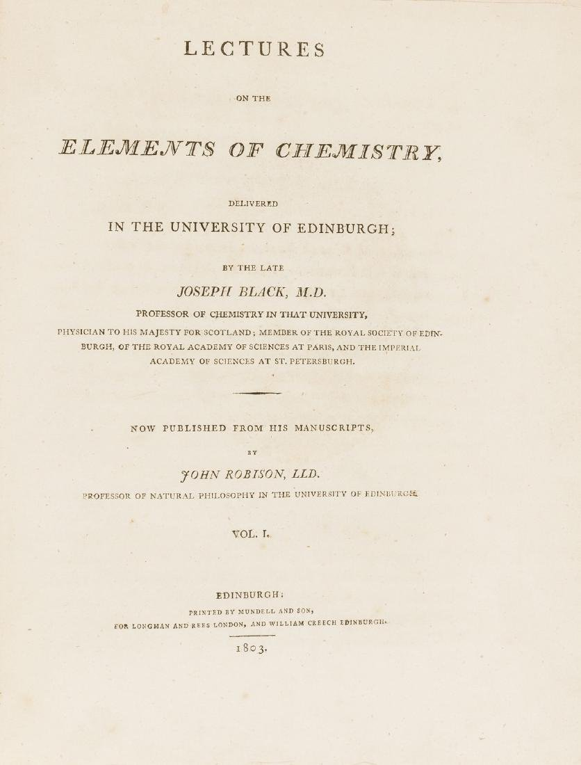 Chemistry.- Black (Joseph) Lectures on the Elements of