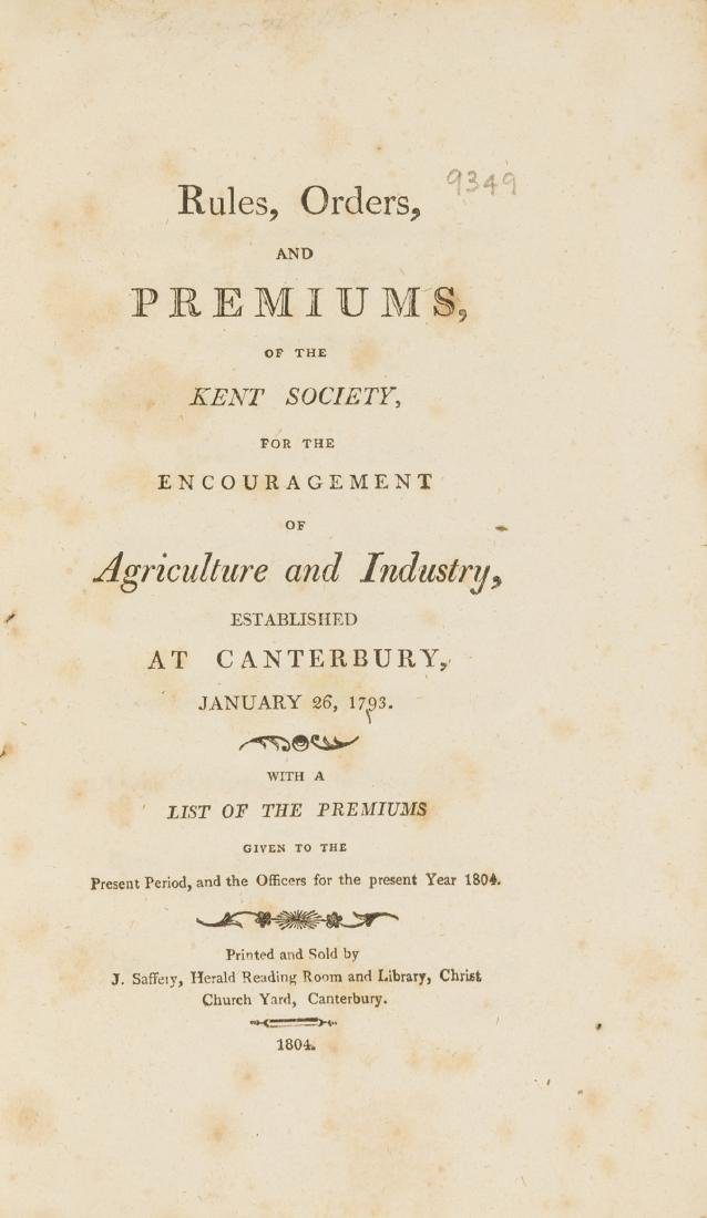 Kent Agriculture.- Rules, Orders and Premiums of the