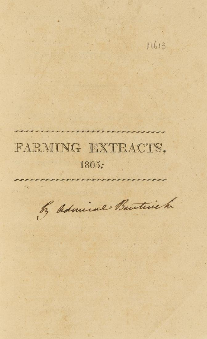 Bentick (Admiral William) Farming Extracts, 1805.
