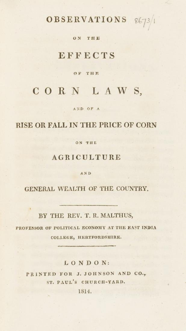 Corn Laws.- Malthus (T. R.) Obesrvations on the Effects