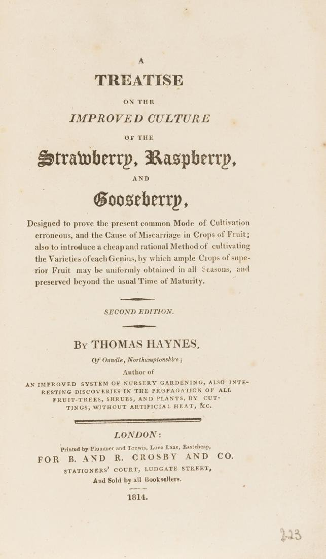 Haynes (Thomas) A Treatise on the Improved Culture of
