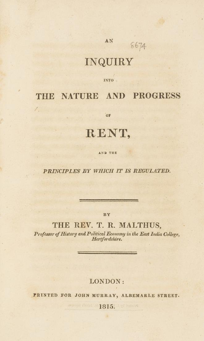 Malthus (Rev. T. R.) An Enquiry into the Nature and