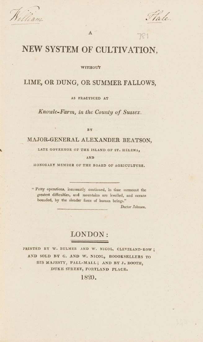 Manure.- Beatson (Maj.-Gen. Alexander) A New System of