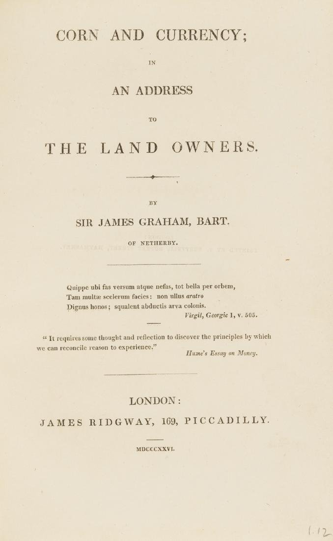 Graham (James) Corn and Currency, first edition, 1826.