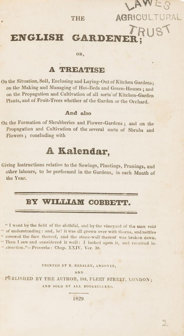 Cobbett (William) The English Gardener, first edition,