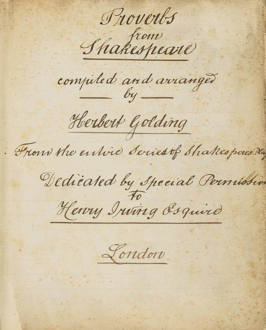 Henry Irving Dedication.- Shakespeare (William).-