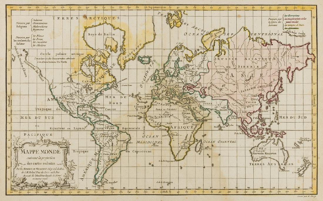 World.- Vaugondy (Robert de) Mappe Monde suivant la