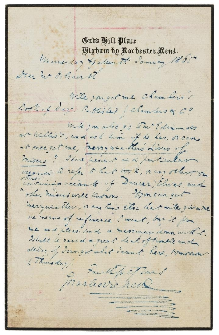 Dickens (Charles) Autograph Letter signed to George