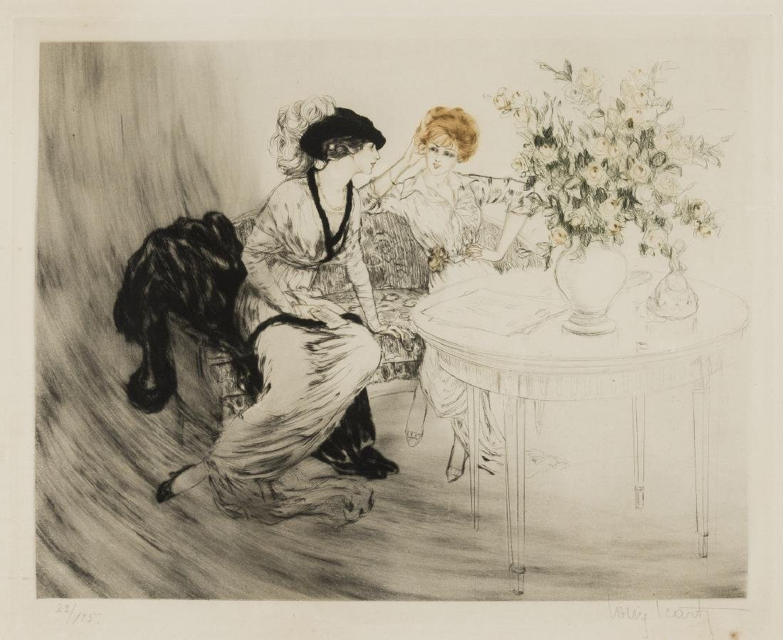 Icart (Louis, 1888-1950) The Conversation, etching,