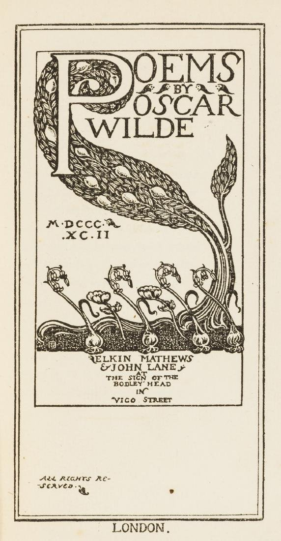 Wilde (Oscar) Poems, one of 220 copies signed by the