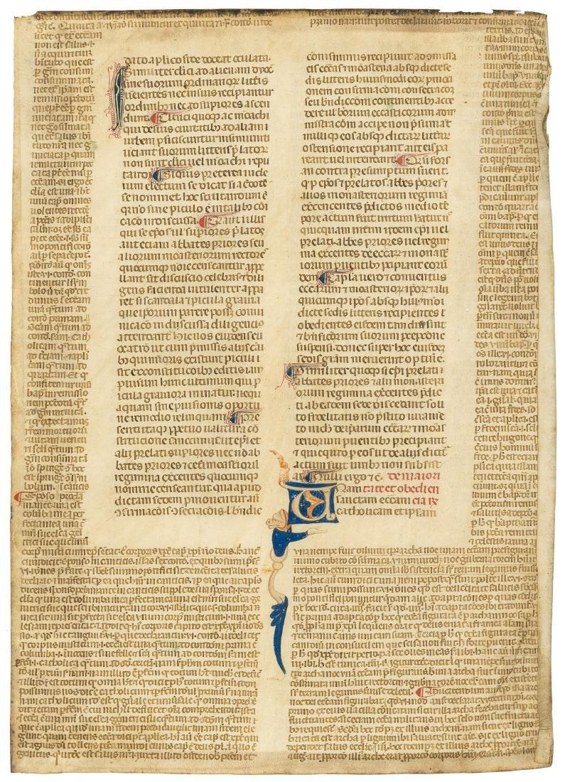 Medieval leaf.- [?Corpus juris canonici], quoting Pope