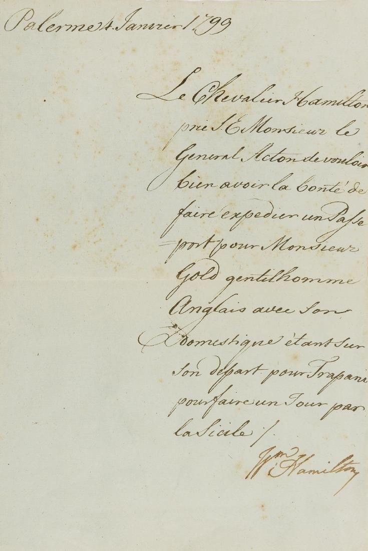Hamilton (Sir William) Letter signed to Sir John Acton,