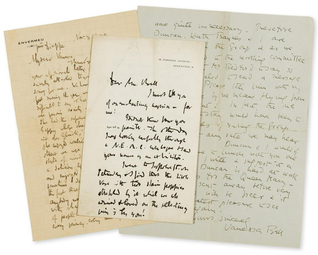 Sickert (Walter) 2 Autograph Letters signed to Vanessa