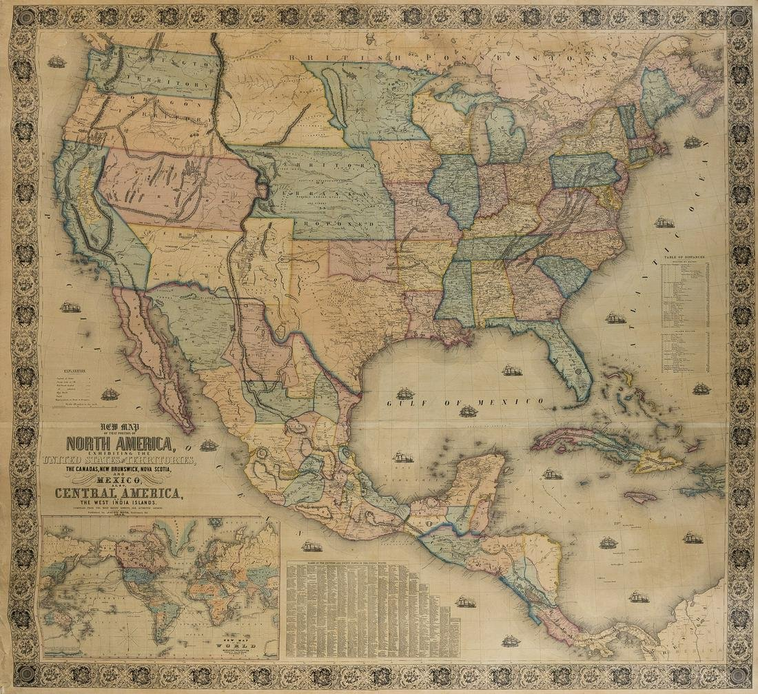 Americas.- Monk (Jacob) New Map of the Portion of North
