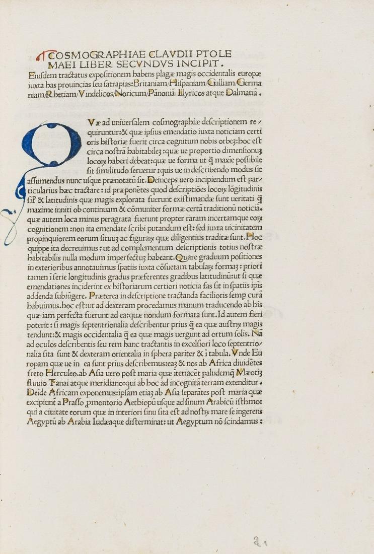 Ptolomaeus (Claudius) Cosmographia, first edition,