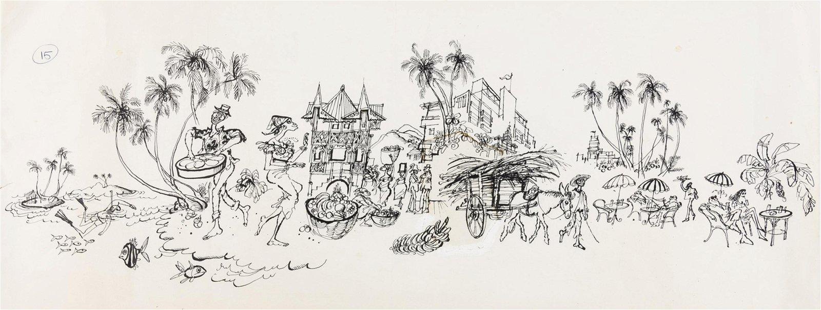 Original illustration.- Searle (Ronald) The Caribbean,