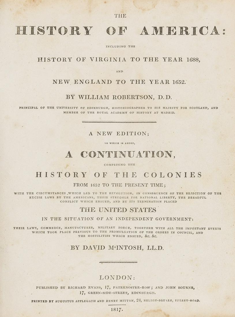 America.- Robertson (William) The History of America: