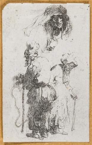 Rembrandt van Rijn (1606-1669)  Sheet of Studies: