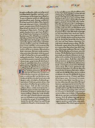 Bible leaf from 1462.- Bible. Latin, Single leaf, from