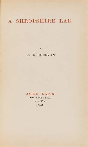 Housman (A. E.) A Shropshire Lad, first edition,