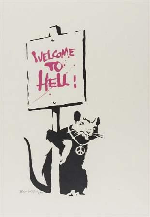** δ Banksy (b.1974)  Welcome to Hell (Pink)