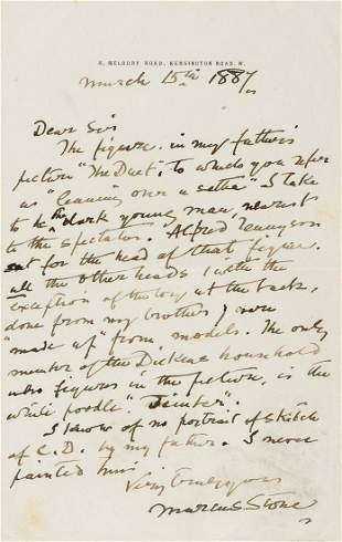Dickens (Charles).- Stone (Marcus) Autograph Letter